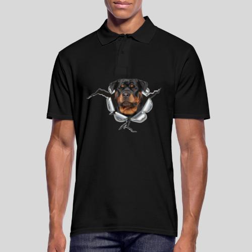 Rottweiler im Metall Loch - Männer Poloshirt