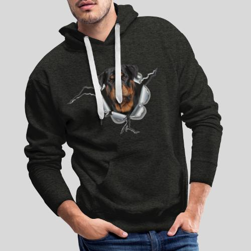 Rottweiler im Metall Loch - Männer Premium Hoodie