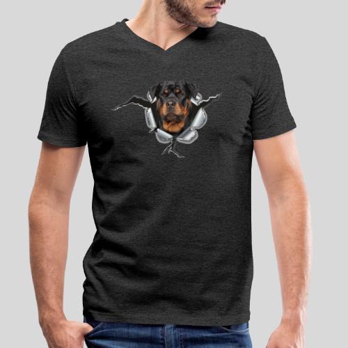 Rottweiler im Metall Loch - Männer Bio-T-Shirt mit V-Ausschnitt von Stanley & Stella