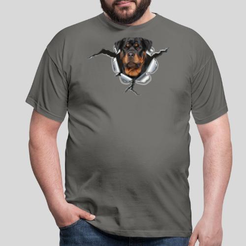 Rottweiler im Metall Loch - Männer T-Shirt