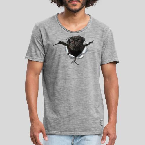 Schwarzer Mops im Metall Loch - Männer Vintage T-Shirt