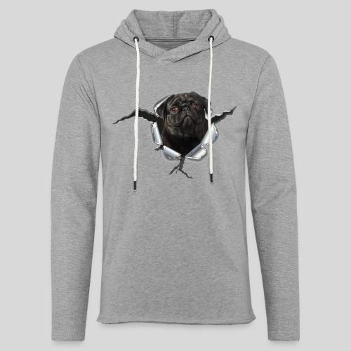 Schwarzer Mops im Metall Loch - Leichtes Kapuzensweatshirt Unisex