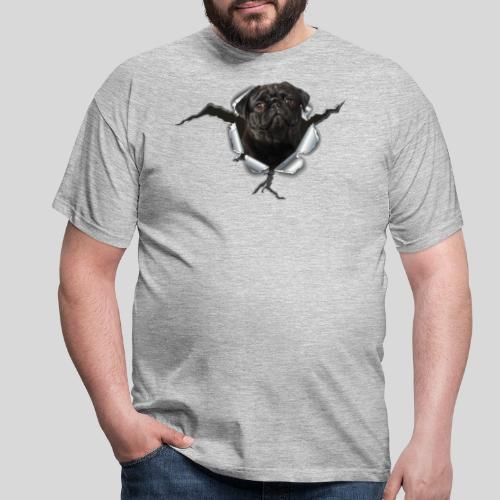 Schwarzer Mops im Metall Loch - Männer T-Shirt