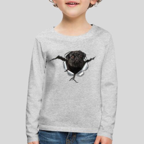 Schwarzer Mops im Metall Loch - Kinder Premium Langarmshirt