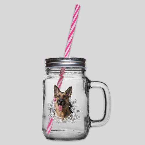 Deutscher Schäferhund im Glas Loch - Henkelglas mit Schraubdeckel