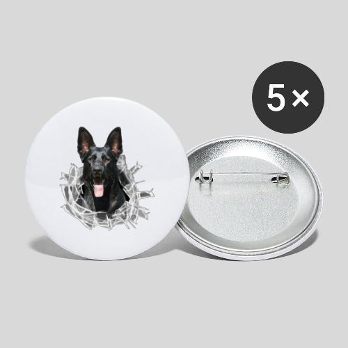 Schwarzer Schäferhund im Glas Loch - Buttons groß 56 mm (5er Pack)