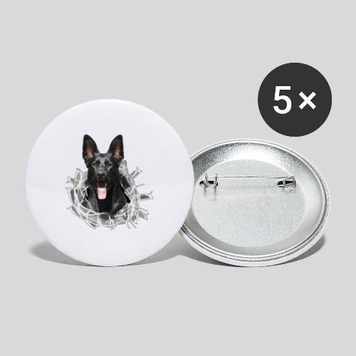 Schwarzer Schäferhund im Glas Loch - Buttons mittel 32 mm (5er Pack)