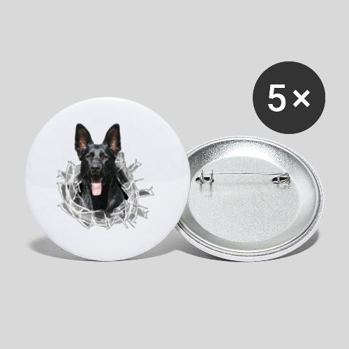 Schwarzer Schäferhund im Glas Loch - Buttons klein 25 mm (5er Pack)