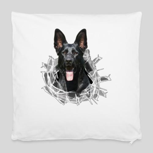 Schwarzer Schäferhund im Glas Loch - Kissenbezug 40 x 40 cm