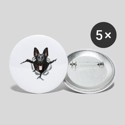 Schwarzer Schäferhund im Metall Loch - Buttons groß 56 mm (5er Pack)