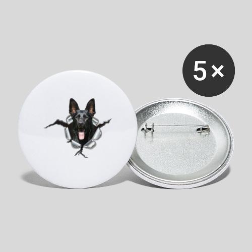 Schwarzer Schäferhund im Metall Loch - Buttons mittel 32 mm (5er Pack)