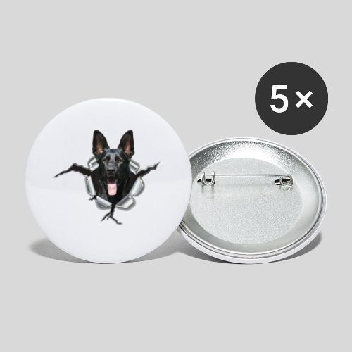 Schwarzer Schäferhund im Metall Loch - Buttons klein 25 mm (5er Pack)