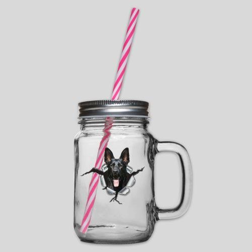 Schwarzer Schäferhund im Metall Loch - Henkelglas mit Schraubdeckel