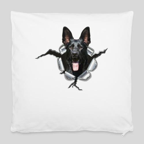 Schwarzer Schäferhund im Metall Loch - Kissenbezug 40 x 40 cm