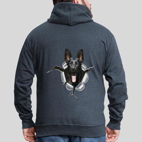 Schwarzer Schäferhund im Metall Loch - Männer Premium Kapuzenjacke