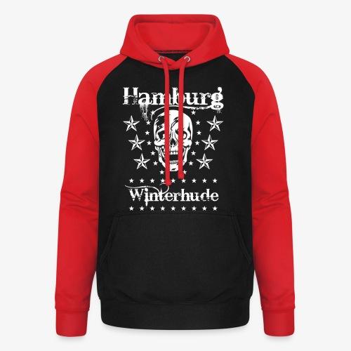 Hamburg Stadtteil Winterhude Skull Totenkopf T-Shirt 49 - Unisex Baseball Hoodie