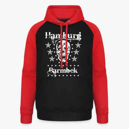 Hamburg Stadtteil Barmbek Skull Totenkopf T-Shirt 51 - Unisex Baseball Hoodie