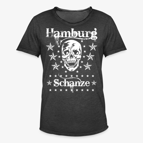 Hamburg Stadtteil Schanze Skull Totenkopf 54 - Männer Vintage T-Shirt