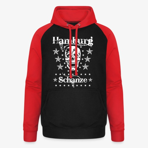 Hamburg Stadtteil Schanze Skull Totenkopf 54 - Unisex Baseball Hoodie