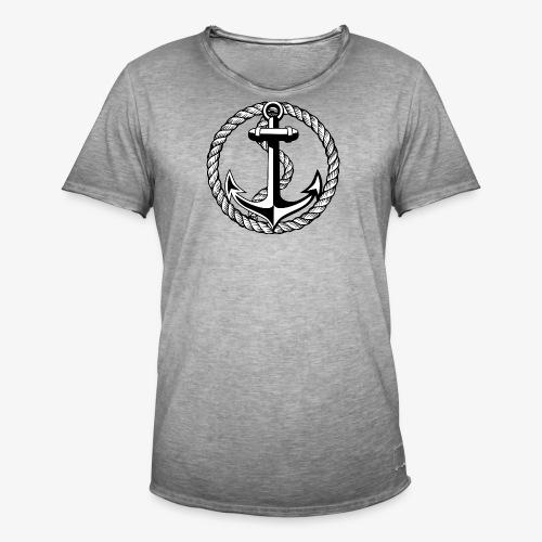 Anker Seil Vintage schwarz-weiss T-Shirt 65b - Männer Vintage T-Shirt