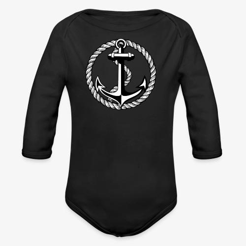 Anker Seil Vintage schwarz-weiss T-Shirt 65b - Baby Bio-Langarm-Body