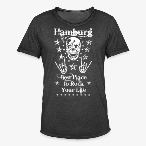 Hamburg Skull Best place to rock your Life T-Shirt 66 - Männer Vintage T-Shirt