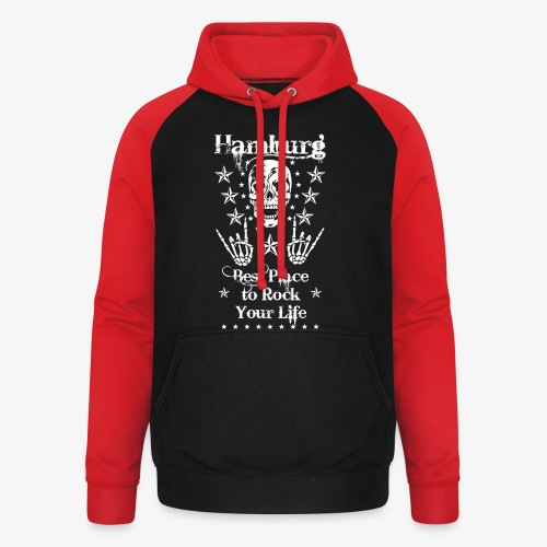 Hamburg Skull Best place to rock your Life T-Shirt 66 - Unisex Baseball Hoodie