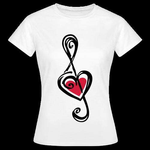 Damen-Shirt mit Notenschlüssel - Frauen T-Shirt