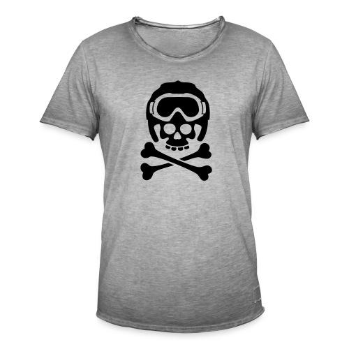 Totenkopf mit Skihelm und Skibrille - Männer Vintage T-Shirt