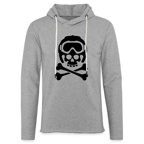 Totenkopf mit Skihelm und Skibrille - Leichtes Kapuzensweatshirt Unisex