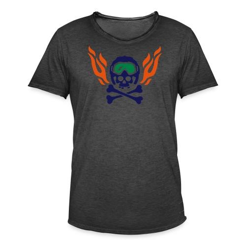 Totenkopf mit Skihelm, Skibrille und Flammen - Männer Vintage T-Shirt