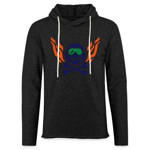 Totenkopf mit Skihelm, Skibrille und Flammen - Leichtes Kapuzensweatshirt Unisex