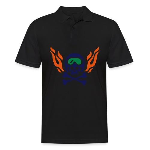 Totenkopf mit Skihelm, Skibrille und Flammen - Männer Poloshirt
