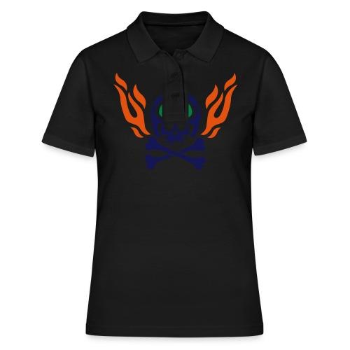 Totenkopf mit Skihelm, Skibrille und Flammen - Frauen Polo Shirt
