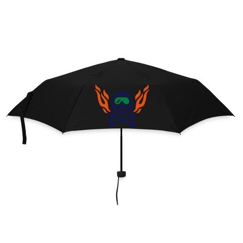 Totenkopf mit Skihelm, Skibrille und Flammen - Regenschirm (klein)