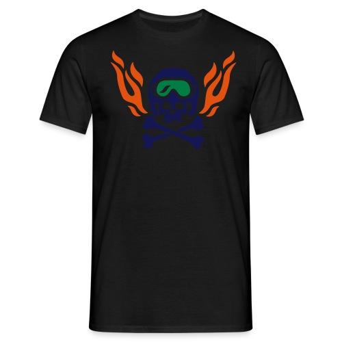 Totenkopf mit Skihelm, Skibrille und Flammen - Männer T-Shirt