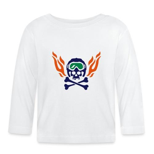 Totenkopf mit Skihelm, Skibrille und Flammen - Baby Langarmshirt
