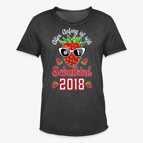 Schulkind 2018 Erdbeere Aller Anfang ist süß T-Shirts 02 - Männer Vintage T-Shirt