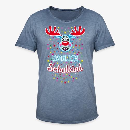 Endlich Schulkind Hirsch Rudi Blau T-Shirt 07 - Männer Vintage T-Shirt
