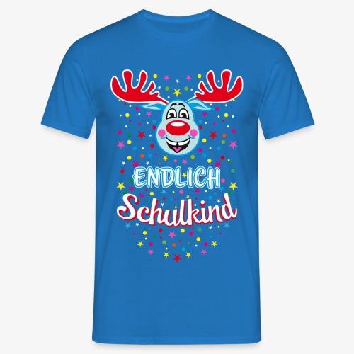 Endlich Schulkind Hirsch Rudi Blau T-Shirt 07 - Männer T-Shirt