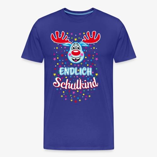 Endlich Schulkind Hirsch Rudi Blau T-Shirt 07 - Männer Premium T-Shirt