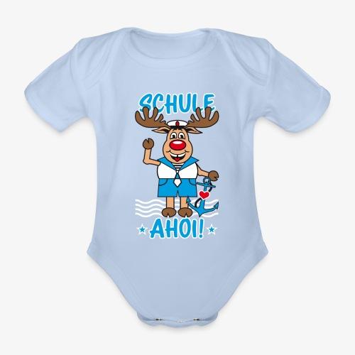 Schule Ahoi Hirsch Rudi Matrose Anker T-Shirt 09 - Baby Bio-Kurzarm-Body
