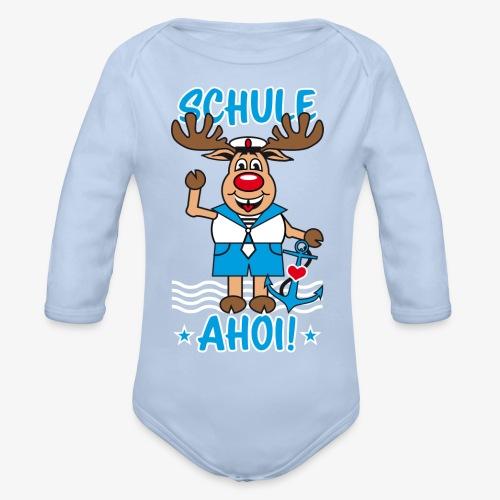 Schule Ahoi Hirsch Rudi Matrose Anker T-Shirt 09 - Baby Bio-Langarm-Body