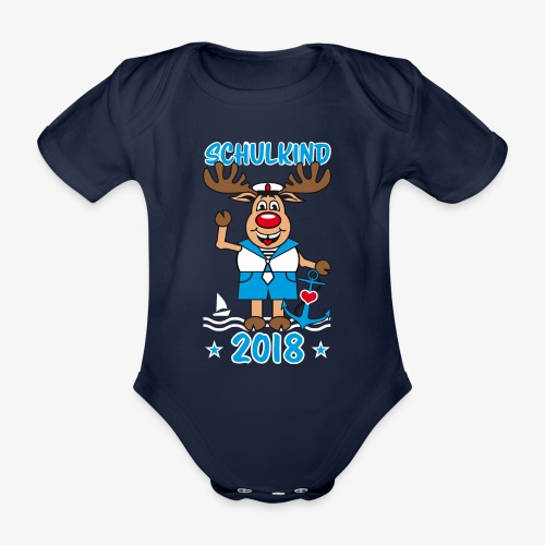 Schulkind 2018 Hirsch Rudi Matrose Anker T-Shirt 10 - Baby Bio-Kurzarm-Body