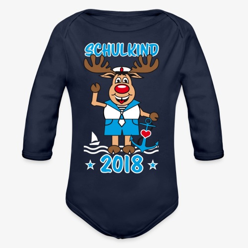 Schulkind 2018 Hirsch Rudi Matrose Anker T-Shirt 10 - Baby Bio-Langarm-Body