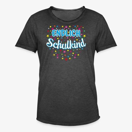 Endlich Schulkind blau Junge T-Shirt 15 - Männer Vintage T-Shirt