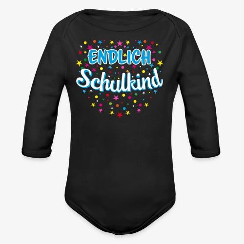 Endlich Schulkind blau Junge T-Shirt 15 - Baby Bio-Langarm-Body