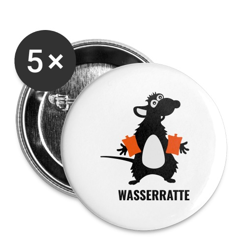 Wasserratte - Buttons groß 56 mm (5er Pack)
