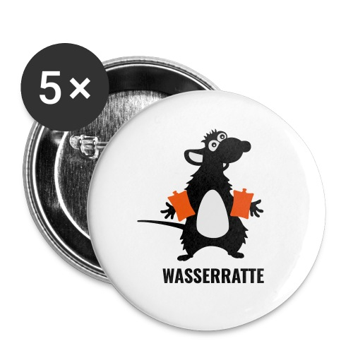Wasserratte - Buttons klein 25 mm (5er Pack)
