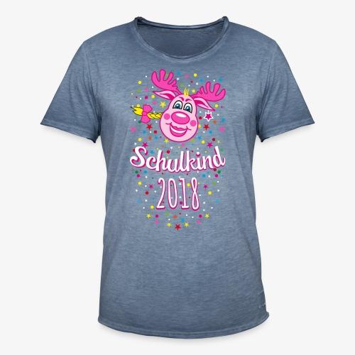 Schulkind 2018 Hirsch Rudi Pink Mädchen Glitzer 08 - Männer Vintage T-Shirt